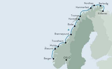 Karte Norwegen Hurtigruten.Norwegen Mit Hurtigruten Schiffsreisen Norden Tours