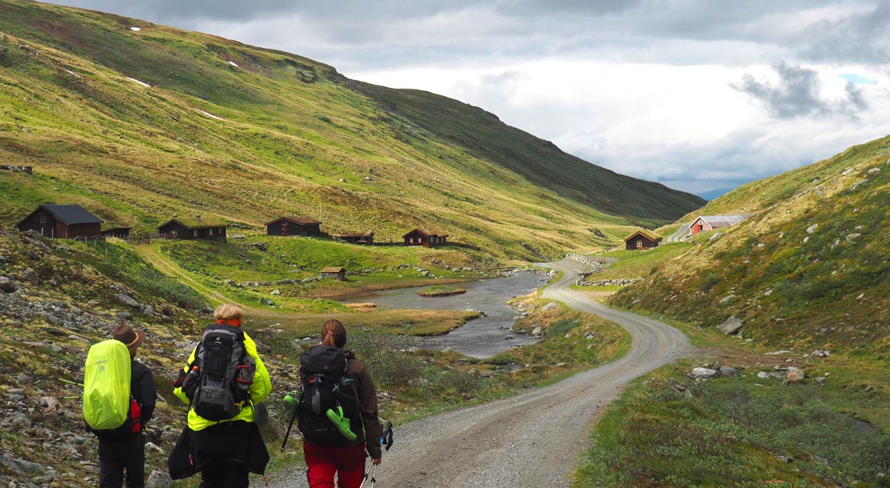 Wanderer auf dem Olavsweg in Norwegen