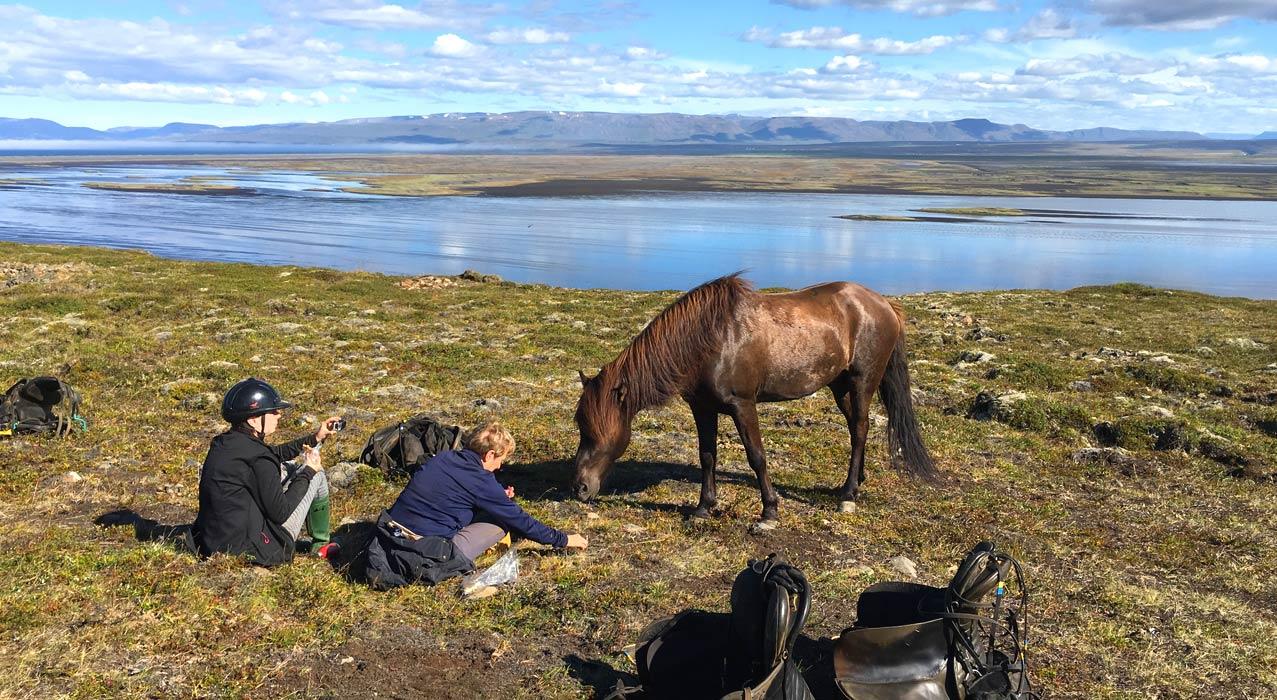 Pferde und Reiter vor dem See Hóp